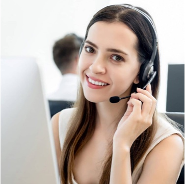 Dark haired woman with headset